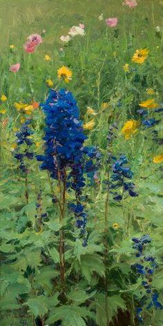 Flower Garden by Clyde Aspevig, oil on canvas, 24 x 12, plein air painting.