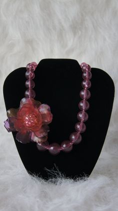 Vintage translucent pink lucite necklace with 50s flower brooch