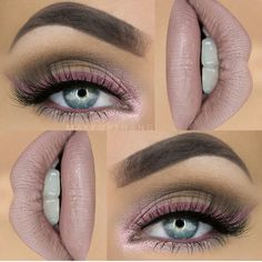 Pink and brown, soft plum, neutral makeup by #makeupthang