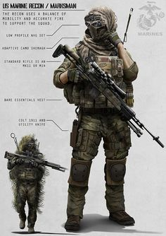 "Recon Marine by ~AlexJJessup on deviantART There would be nothing ""Swift, silent or deadly"" about wearing all of this crap. I bet most of it would stay in a kit bag unused. It is an excellent drawing though. Special Ops, Special Forces, Art Du Monde, Future Soldier, Armor Concept, Concept Art, Marine Corps, Marine Recon, Usmc Recon"