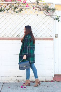 StylishPetite.com | Tartan Plaid Coat and Stripes