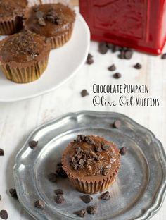 Chocolate Pumpkin Olive Oil Muffins
