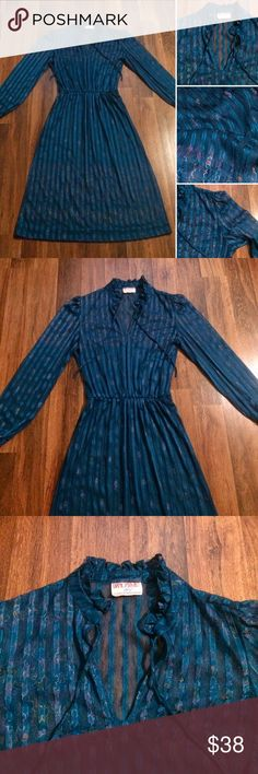 New Listing! Vintage 70s Diamonds Run Dress Refer to pictures for description and measurements. Check out those gorgeous colors. A beauty from the 70s. By Diamond Run. Tagged a Vintage 13/14. Polyester. Sheer. I recommend a slip underneath. The one armpit will need a stitch. Came apart at the seam. Otherwise, In very good vintage condition. Please ask any questions before purchasing. Thank you Vintage Dresses Midi