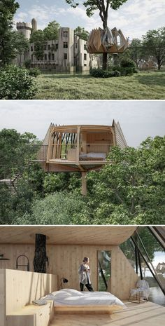 This treehouse has a visually complex facade that folds, opens, and even rotates to provide privacy and outstanding views of the surroundings. Conceiving, Treehouses, Dream House Plans, Another World, Outdoor Furniture, Outdoor Decor, Mother Nature, Facade, Architecture
