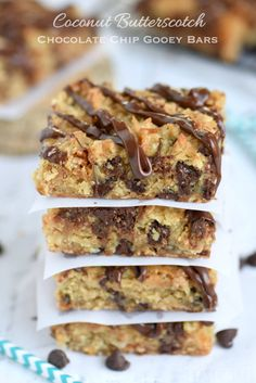 These Coconut Butterscotch Chocolate Chip Gooey Bars are sure to be a hit! So much flavor in one bite! Perfect for potlucks, picnics, road trips and more! // Mom On Timeout Chocolate Chip Bars, Chocolate Toffee, Chocolate Recipes, Coconut Chocolate, Peanut Butter Oatmeal Bars, Coconut Oatmeal, Easy Desserts, Delicious Desserts, Dessert Recipes
