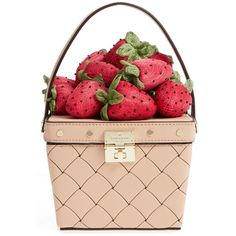Women's Kate Spade New York Picnic Perfect Strawberry Woven Leather... ($398) ❤ liked on Polyvore featuring bags, handbags, cashew, red handbags, braided leather bag, woven leather purse, purse bag and kate spade purses