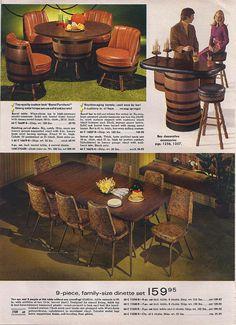 Mom and Dad had had a whiskey barrel table. Vintage Advertisements, Vintage Ads, 1970s Decor, Barrel Table, Barrel Furniture, Dinette Sets, Futuristic Design, Good Ole, The Good Old Days