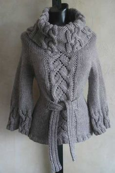 #90 Chic Cables and Lace Cowl Neck Sweater PDF Knitting Pattern-need to find someone to make this for me!