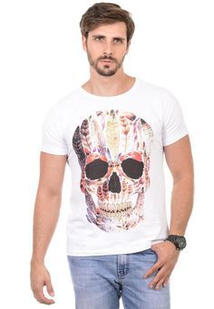 Camiseta Masculina Caveira Penas