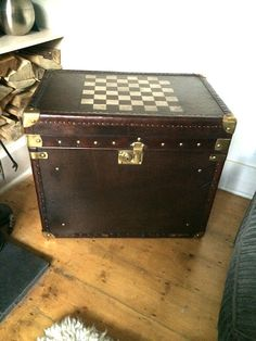 Leather Trunk Table With Chessboard Top & Brass Fittings