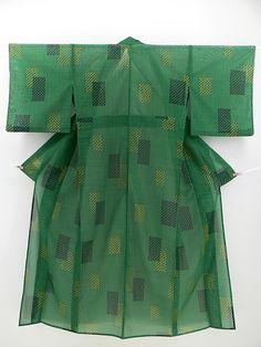 Green Hitoe Komon, Abstract Pattern / 緑地 幾何学柄 化繊絽単衣小紋  【リサイクル着物・アンティーク着物・帯の専門店 あい山本屋】#Kimono #Japan
