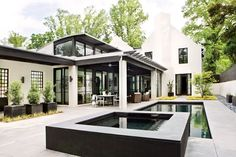 Morningside I - modern - - atlanta - by Bradley E Heppner Architecture, LLC Exterior Design, Interior And Exterior, Modern Exterior, Exterior Colors, Exterior Paint, Outdoor Spaces, Outdoor Living, Outdoor Pool, Atlanta Homes