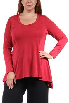 With long sleeves and a lightweight feel, this high-low tunic from 24/7 Comfort Apparel features a deep scoop neckline for an easy-going but flirtatious look. With a touch of stretch, this plus size top is a perfect fit for any figure.    High-Low Tunic Top by 24/7 Comfort Apparel. Clothing - Tops - Long Sleeve Clothing - Tops - Tunics California