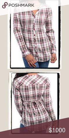 NEW Plaid Tie Back Sparkle Thread Button Down Top NEW Plaid Tie Back Babydoll Sparkle Thread Button Down Top Tops Button Down Shirts