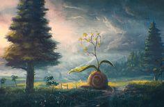 Photo Spruce Nature Fantasy Sky Rain Meadow Fantastic world Fantasy Kunst, Fantasy Art, Fantasy Forest, Art Graphique, Fantasy Landscape, Anime Scenery, Cool Artwork, Oeuvre D'art, Amazing Art