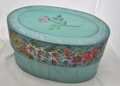 Floral hand painted bentwood oval box 15L x 8H x 9D by folkhearts, $525.00