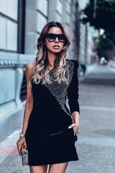 Holiday Style - Velvet Saint Laurent one shoulder crystal embellished dress