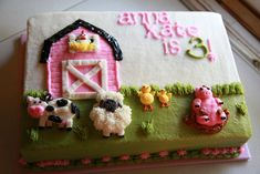 Farm Birthday Cakes, Animal Birthday Cakes, Farm Animal Birthday, Birthday Cake Girls, Birthday Ideas, Birthday Parties, Birthday Banners, Birthday Recipes, Birthday Bash