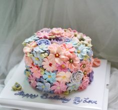 Buttercream Flower 3D Cake - Covered | ellebaking