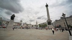 Stock video footage LONDON - JUNE People are going on Trafalgar Square on cloudy day, June 2010 in London, UK. One of most famous squares in United Kingdom and world. Trafalgar Square, Stock Footage, Company Brochure, June 8, Cloudy Day, London, Stock Video, United Kingdom, To Go