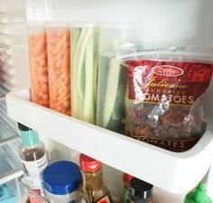 Great idea --> use empty Crystal Light containers to store pre-cut veggies on the fridge door. #organize
