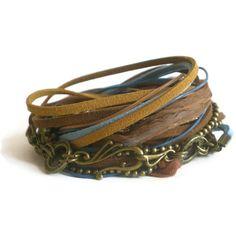 bohemian wrap bracelet leather suede ribbon beads by jcudesigns