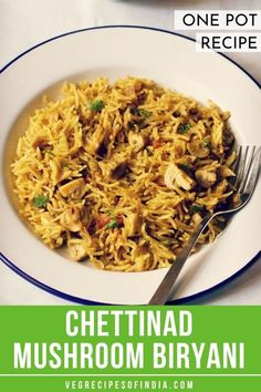 Do you like spicy one pot recipes? Try this vegetarian version of Chettinad mushroom biryani! We will show you how to make this favorite Indian recipe which resembles Chinese fried rice but tastes much different. Try it tonight! Mushroom Recipes Indian, South Indian Vegetarian Recipes, Veg Recipes Of India, Healthy Indian Recipes, South Indian Food, Vegetarian Lunch, Veggie Recipes, Cooking Recipes, Rice Recipes