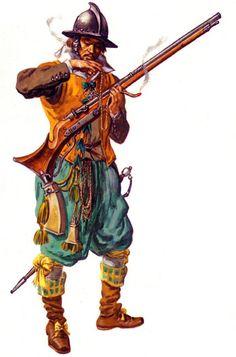 1608 c.? Arcabucero cubierto con un capacete