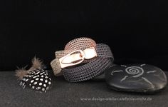 Bracelets - knitted 3-colored WICKEL-ARMBAND made of wire - a design piece by stefaniemohr on DaWanda