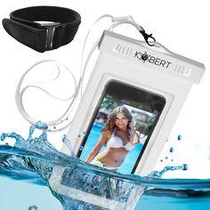 #1 BEST Kobert Waterproof Case (Pro White) - Fits iPhone 6, 6 Plus, 5, 5c, Samsung Galaxy s6, s6 Edge, s5, s4, Note 4, LG G3 - White Strap & Armband