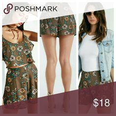 "Ladies floral print shorts High-Rise /Zip Closure/2.5"" Inseam/Polyester/Machine Wash Wet Seal Shorts"