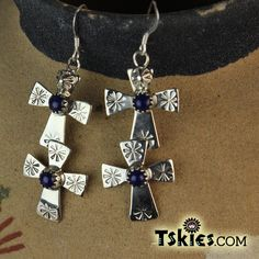 Beautiful Double Cross Lapis Earrings by Roger Pino - Turquoise Skies https://tskies.com/product-category/shop-by-gemstone/lapis/