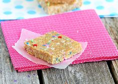 cake batter granola (energy) bars! Very yummy! i used oat bran instead of oat meal flour.