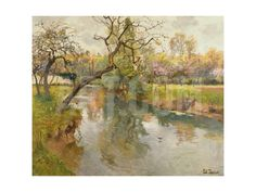 French River Landscape with a Flowering Tree Giclee Print by Fritz Thaulow at Art.com