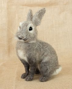 Banjo the Rabbit: Needle felted animal sculpture by The Woolen Wagon