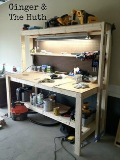workbench lighting ideas. there are many different ways to get your garage organized but one of the easiest is build a diy workbench this handy organizer will cost you fu2026 lighting ideas s