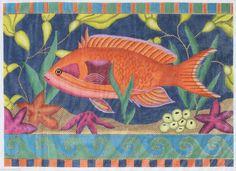 Amanda Lawford Big Orange Fish AL3625 Hand Painted Needlepoint Canvas | eBay