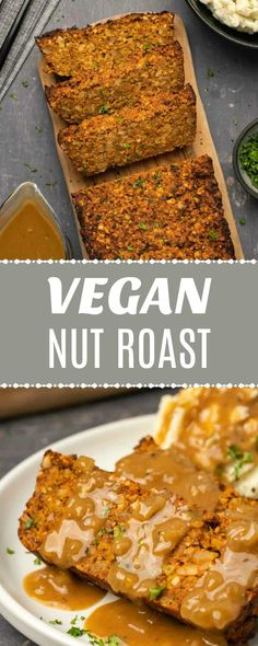 This vegan nut roast is perfect for a special occasion and makes the perfect main course. It's packed with nuts and veggies and plenty of flavor too. Vegan Roast Dinner, Vegan Dinner Recipes, Delicious Vegan Recipes, Cooking Recipes, Dinner Healthy, Vegan Nut Roast Recipes, Vegetarian Nut Roast, Vegetarian Meatloaf, Nut Recipes