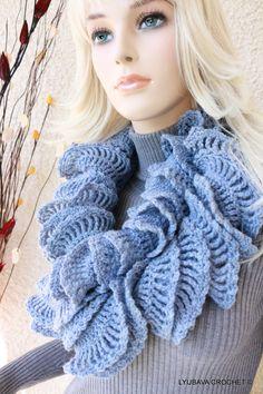 Crochet Ruffle Scarf For Sale by CrochetedByLyubava