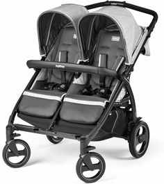 The Peg-Perego Book for Two is one of few double strollers that accept two infant car seats side-by-side, making it an ideal travel system for parents of twins. But families with kids of different ages can also enjoy the Book for Two. The stroller seats are independently adjustable, allowing one child to nap while the other enjoys the view. The Book for Two folds inward (like a book) to protect the upholstery, which comes in a variety of stylish colors.