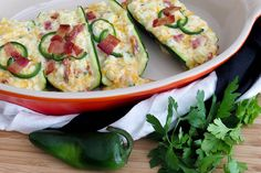 With a ketogenic diet, it's OK to have it all as long as you don't stuff it into a potato. Zucchini makes the perfect low-carb vessel for this filling.
