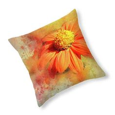 Abstract Orange Flower Throw Pillow, Home Decor, Decorative Cushion. Click through for more.