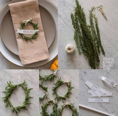 Christmas table mini wreaths and name places. Why not have beautiful place setting for Christmas brunch? Noel Christmas, Winter Christmas, All Things Christmas, Christmas Crafts, Christmas Decorations, Christmas Place, Napkin Rings Diy Christmas, Diy Napkin Rings Thanksgiving, Nordic Christmas