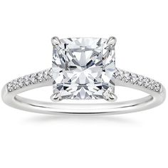 Cushion Cut Lissome Diamond Engagement Ring - 18K White Gold