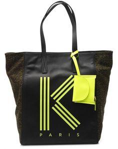 KENZO   Tweed and leather logo bag