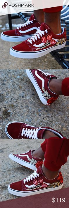 dc1dd772a1 Men s Custom Embroidered Rose Vans sneakers shoes Brand new and Authentic  Custom Vans. One of a kind design. Definitely a head turner!
