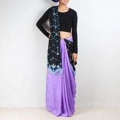 Lavender and Black Shibori Saree - Shop for Saree Online at tadpolestore.com