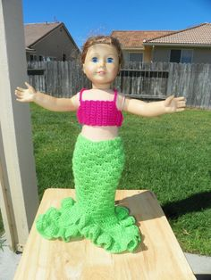 18 Inch Doll Crochet Memaid Pattern Worsted by LilyLovesPatterns fits American girl doll