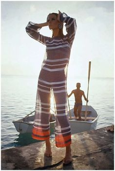 Veruschka wears a voile jumpsuit in Barbados Photo Louis Faurer 1965