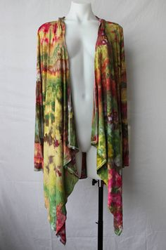 $60 - Tie dye hooded cardi jacket cardigan Ice Dye boho festival Find this item on https://www.etsy.com/shop/ASPOONFULOFCOLORS?ref=hdr_shop_menu